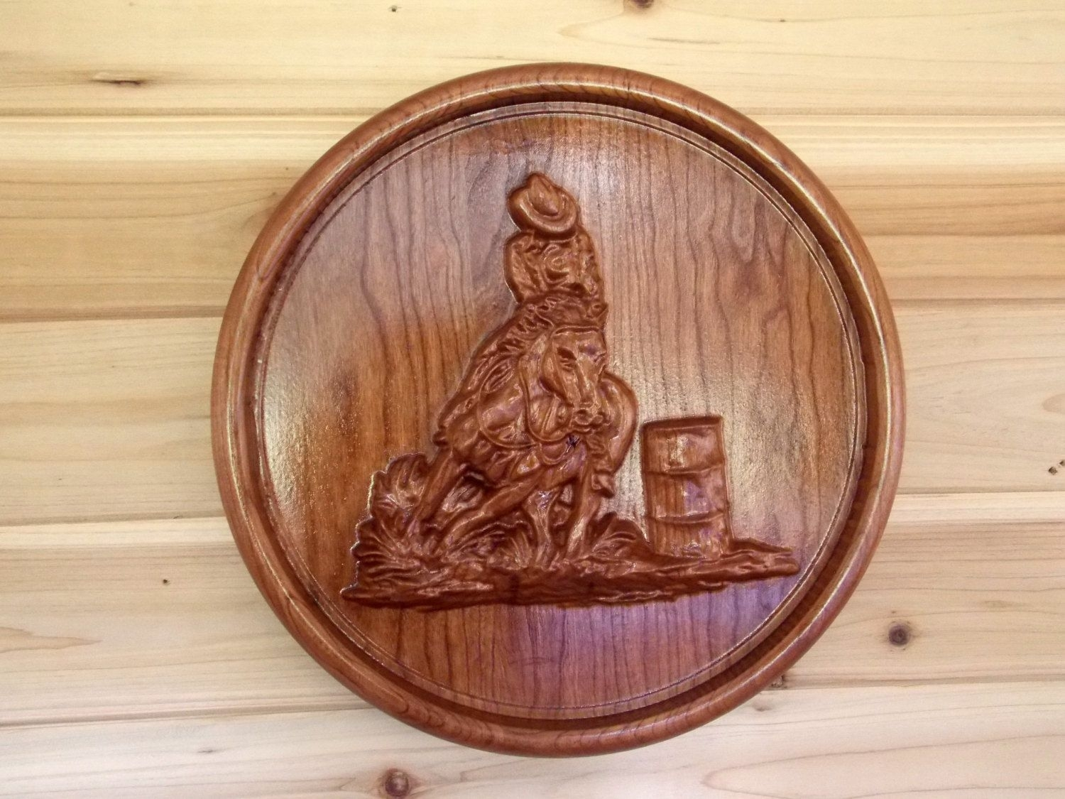 Barrel Racing Cowboy – Wood Carving Wall Hanging – Western Wall Pertaining To Recent Western Wall Art (View 16 of 20)