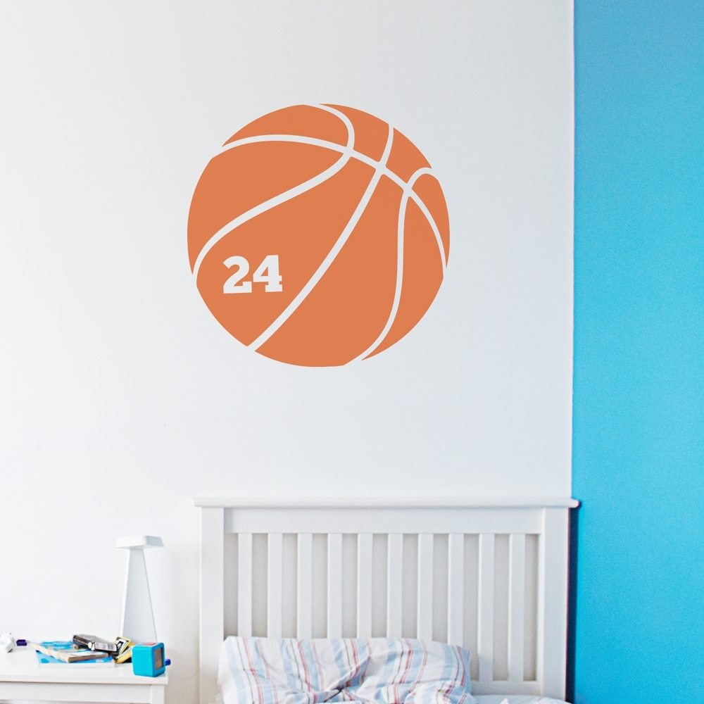 Basketball Number Wall Art Decal With Regard To Most Recent Basketball Wall Art (View 7 of 15)