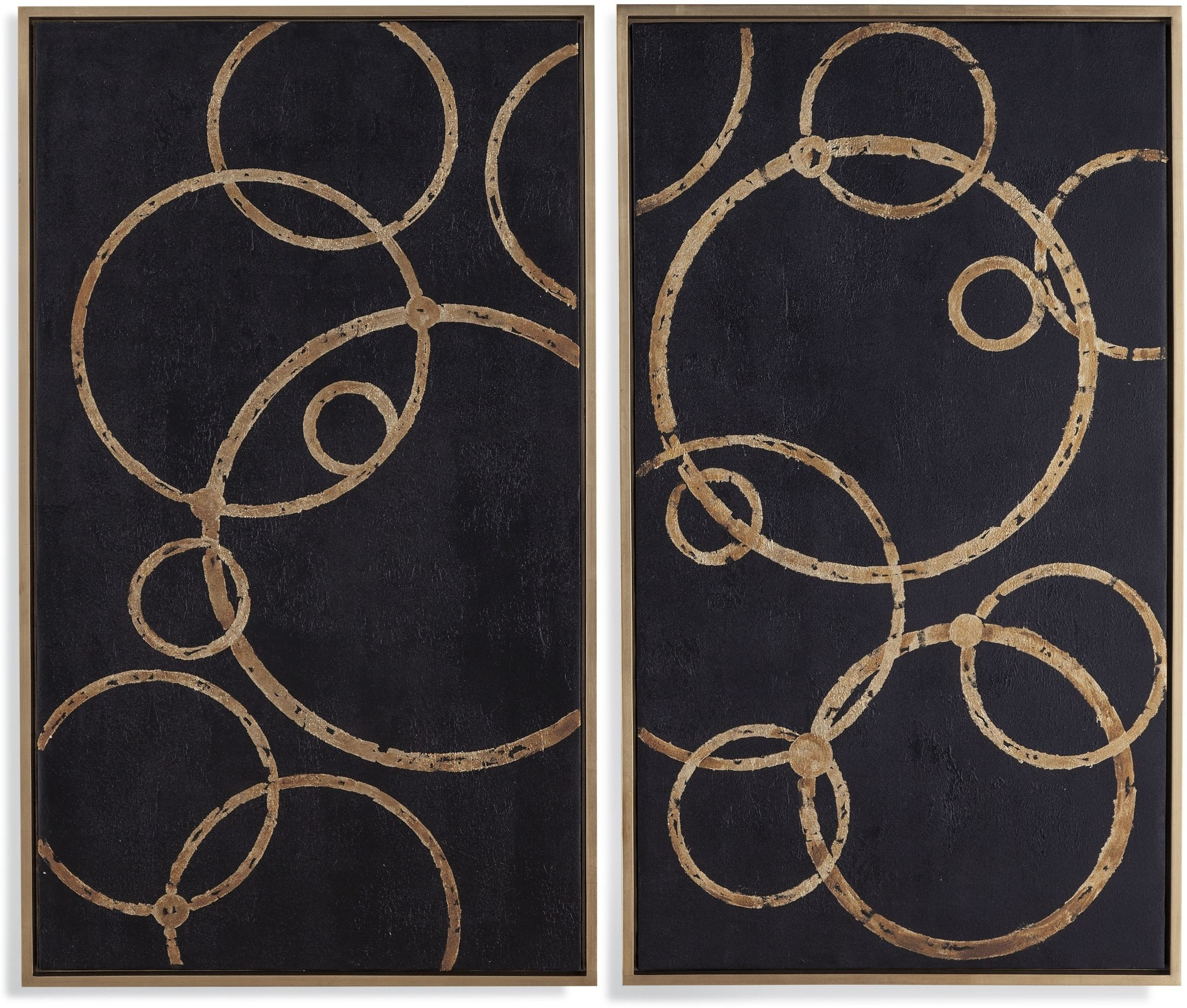 Bassett Mirror Company Boho Black And Gold Circles Wall Art Set Of 2 In Current Black And Gold Wall Art (View 13 of 20)