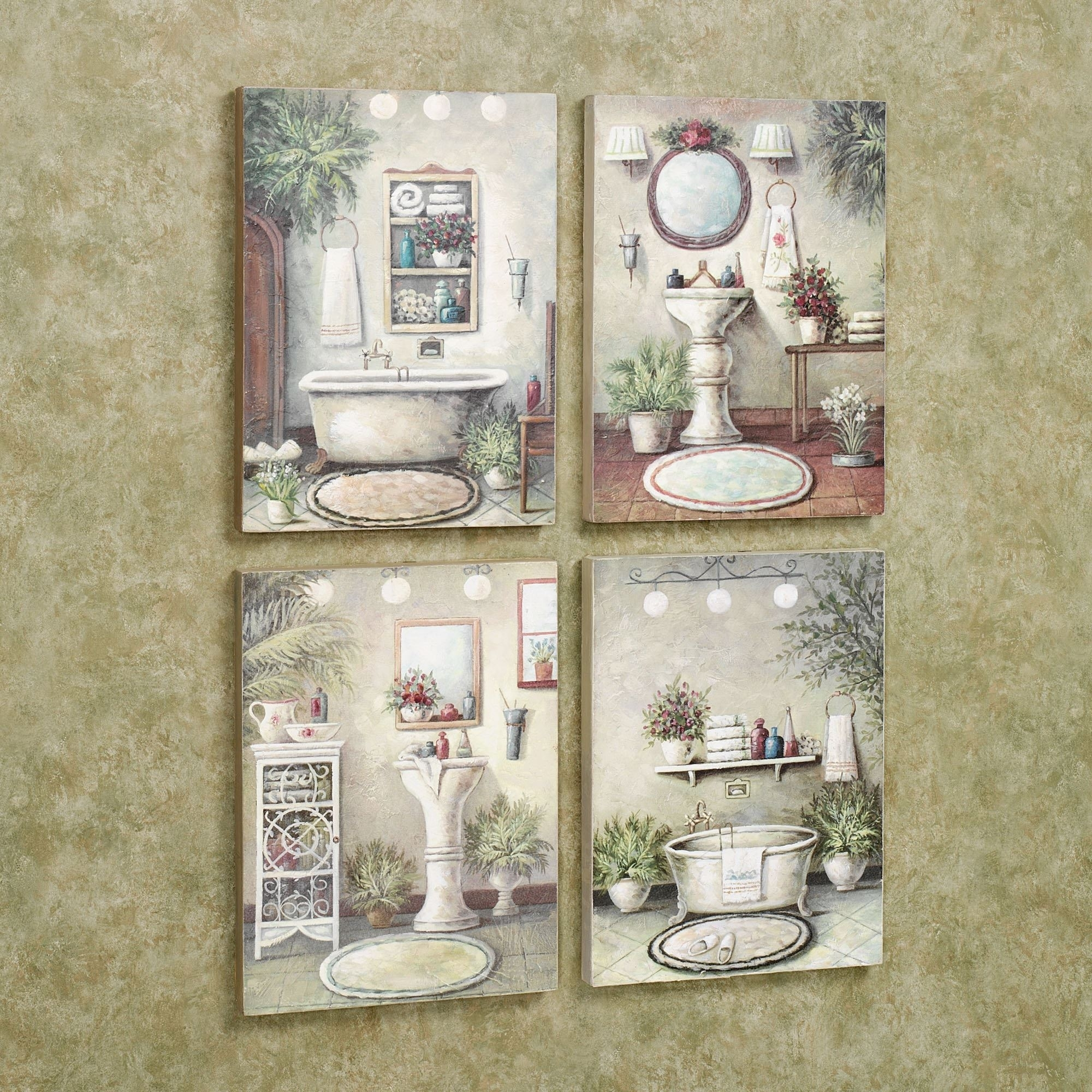 Bathroom Bliss Wooden Wall Art Plaque Set For Most Popular Wall Art For Bathroom (View 3 of 20)