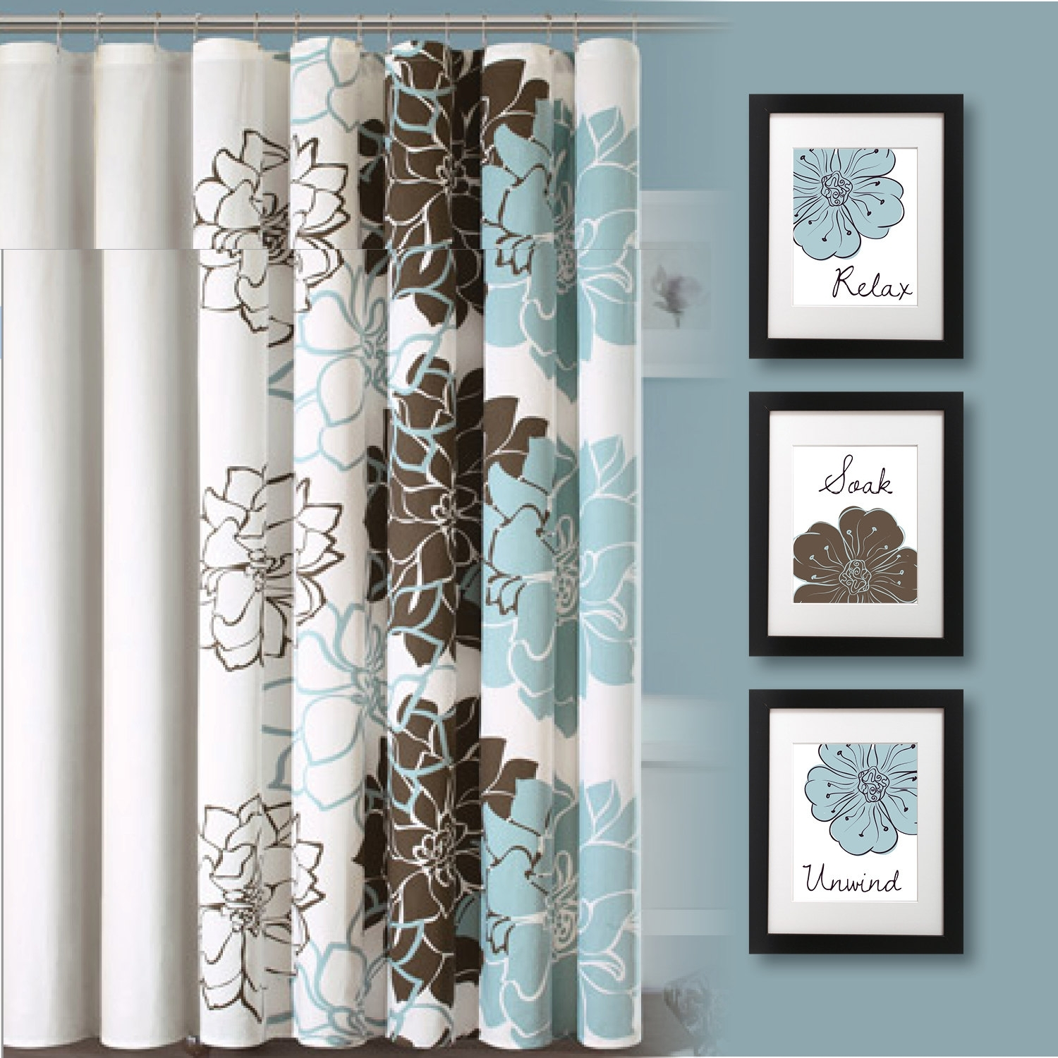 Bathroom Ideas : Blue And Brown Floral Print Bathroom Curtain Square With Regard To Current Bathroom Wall Art Decors (View 5 of 15)