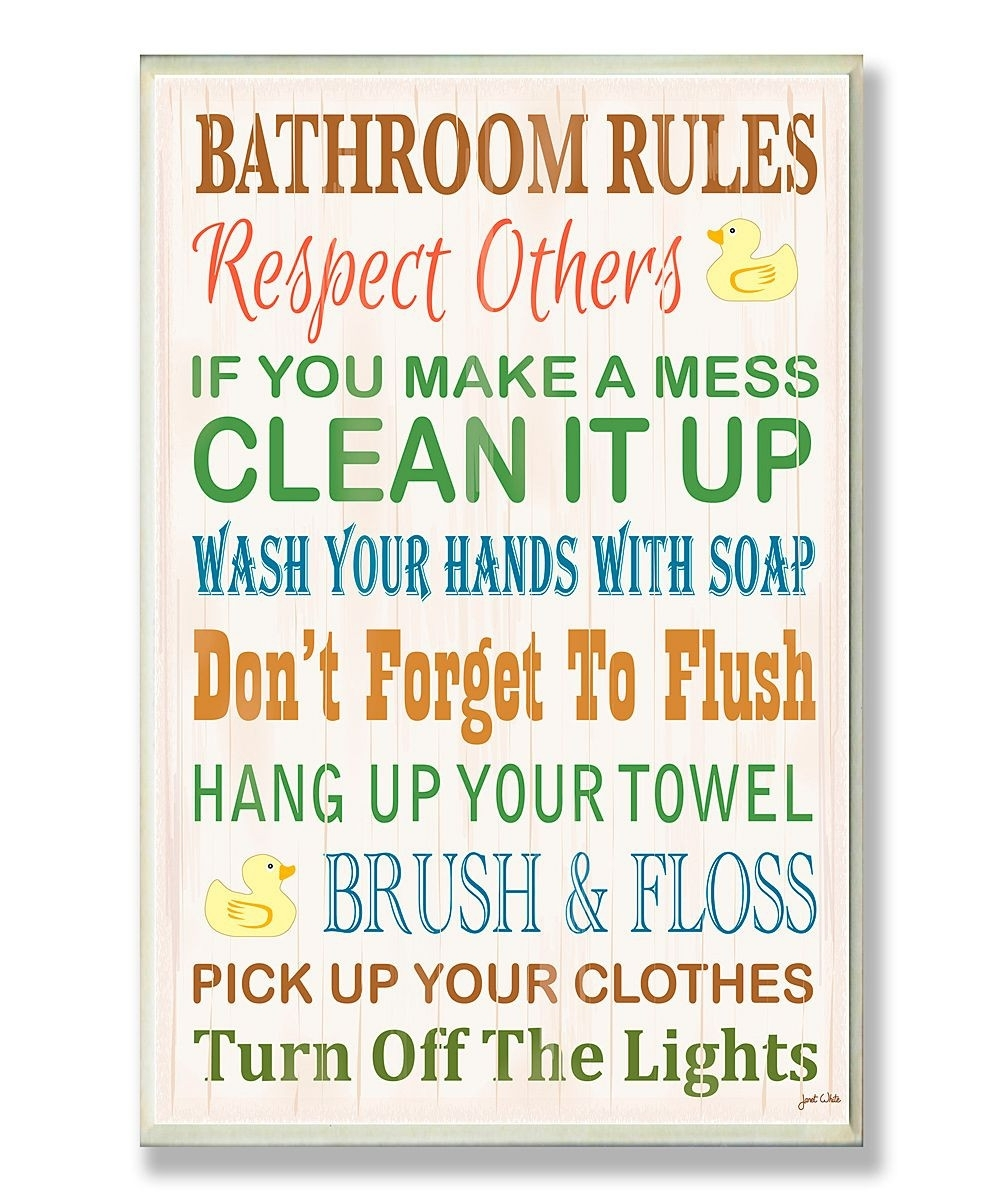 Bathroom Rules Rubber Ducky Wall Plaque Inspiration Of Bathroom Intended For Most Current Bathroom Rules Wall Art (View 11 of 20)
