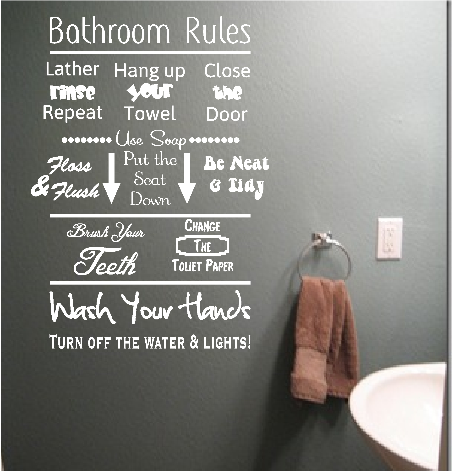 Bathroom Rules Vinyl Wall Art Quote Sticker Wash Words Bath Shower Throughout Current Bathroom Rules Wall Art (View 2 of 20)
