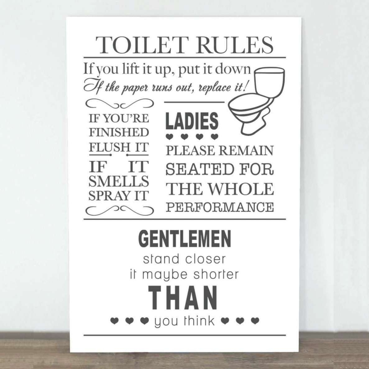 Featured Photo of Bathroom Rules Wall Art