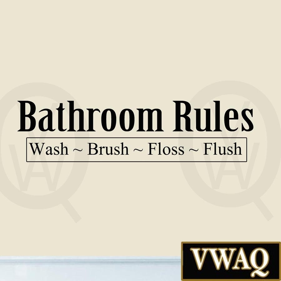 Bathroom Rules Wash Brush Floss Flush Wall Art Decals Bathroom Quote Intended For Most Recently Released Bathroom Rules Wall Art (View 6 of 20)