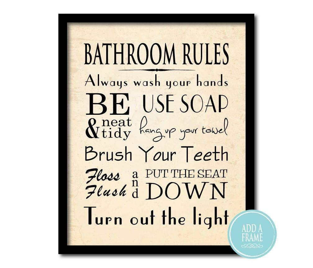 Bathroom Wall Art – Word Art Print – Bathroom Rules – Typography Art Pertaining To Best And Newest Bathroom Rules Wall Art (View 8 of 20)