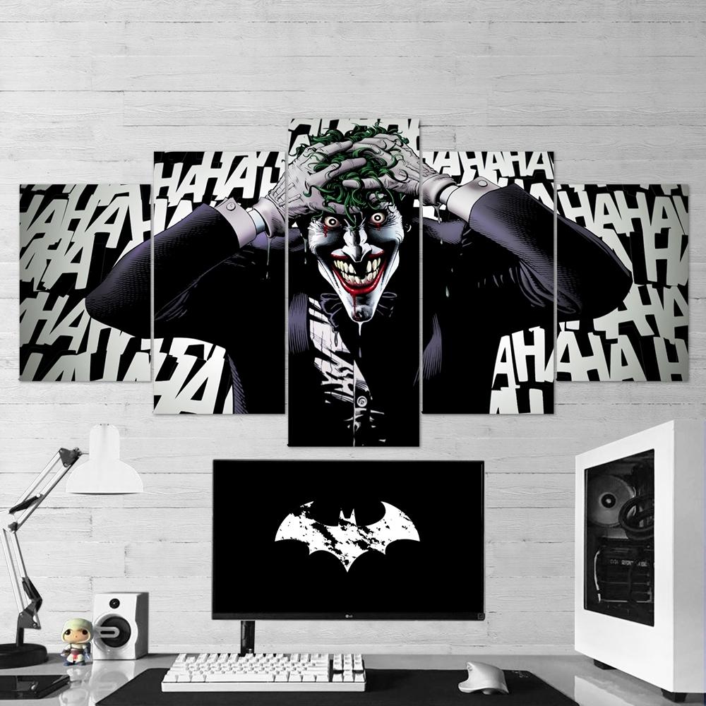 Batman 17 Joker Laugh 5 Piece Canvas Wall Art Gaming Canvas – Game Inside Latest Joker Wall Art (View 15 of 20)