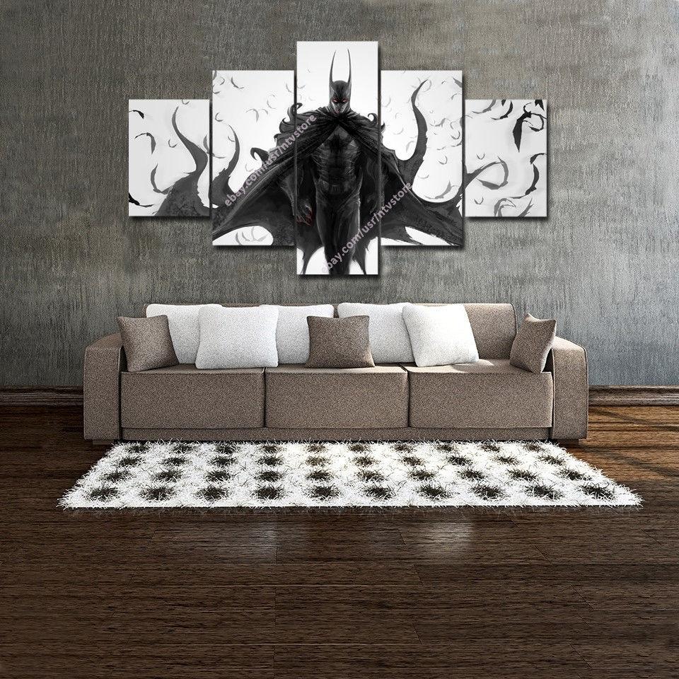 Batman Joker Canvas Wall Art Painting Prints Set 5 Piece Large For Newest Joker Wall Art (View 8 of 20)
