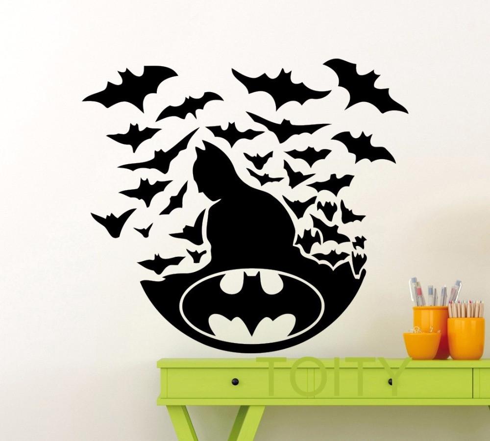 Batman Poster Black Wall Art Sticker Dark Knight Superhero Dc Marvel Pertaining To Newest Batman Wall Art (View 13 of 20)