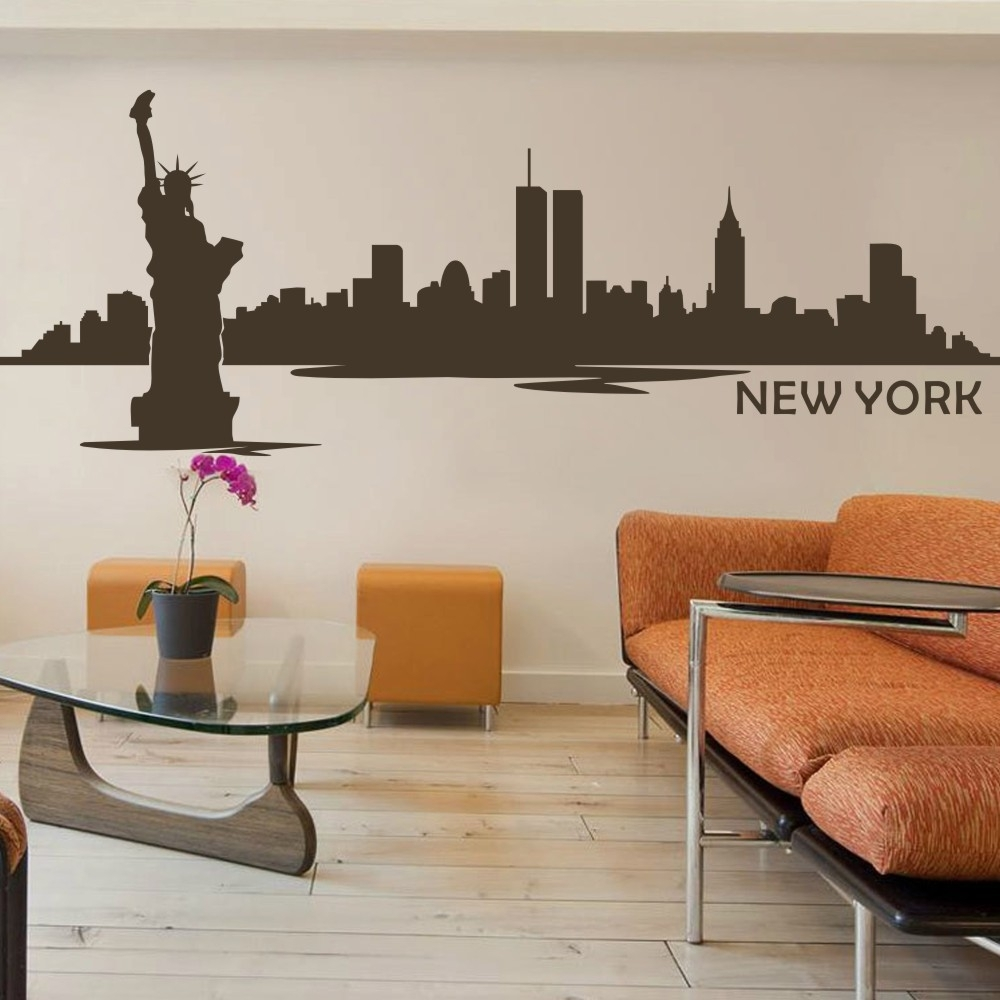 Battoo New York Wall Decor City Skyline Silhouette Wall Decal The Pertaining To Recent Nyc Wall Art (View 16 of 20)