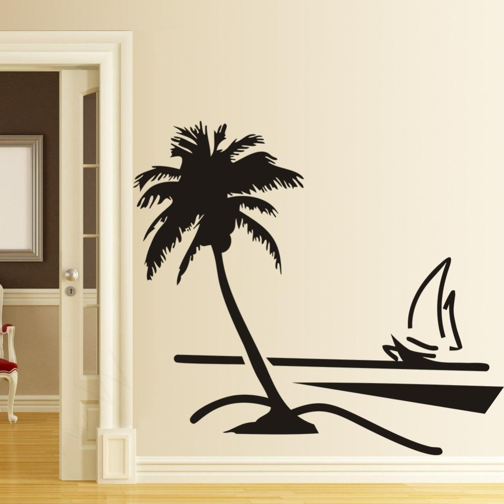 Beach Coconut Palm Tree Sailboat Wall Art Bathroom Glass Modern Art With Most Recent Palm Tree Wall Art (View 3 of 20)