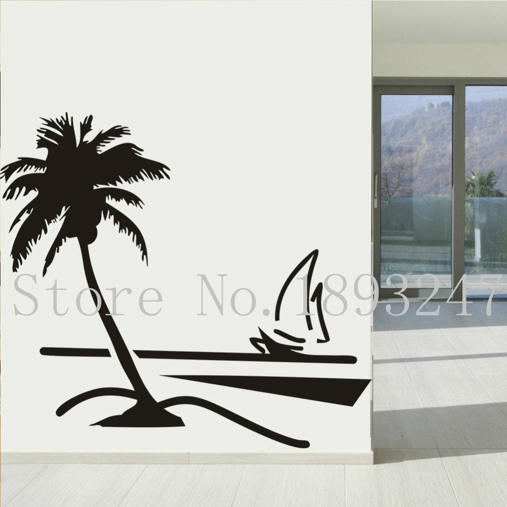 Beach Coconut Palm Tree Sailboat Wall Art Bathroom With Glass Modern With Current Palm Tree Wall Art (View 16 of 20)