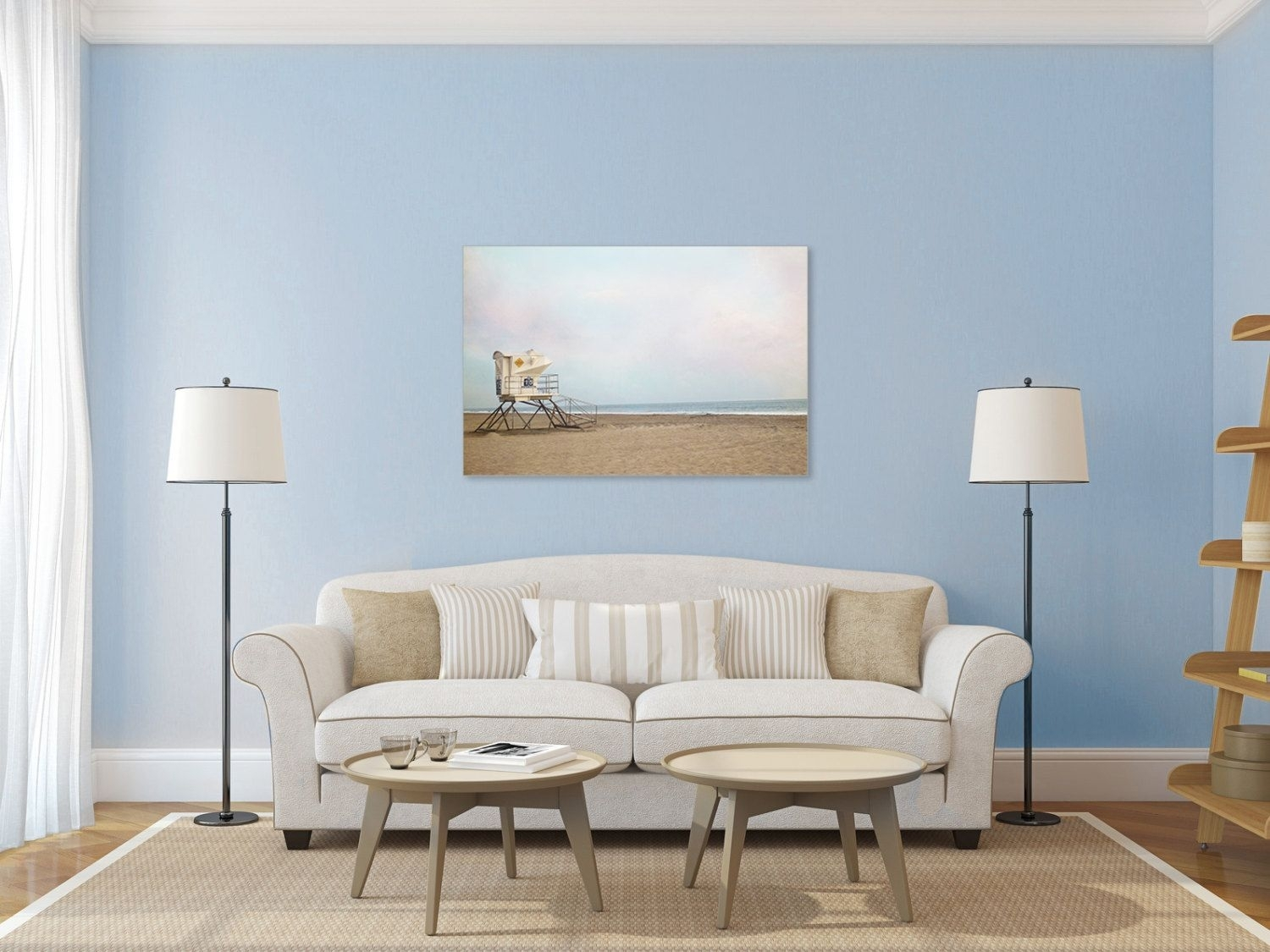 Beach Photography Canvas Print  Lifeguard Stand Gallery Wrap, Pastel With Regard To Most Recent Large Coastal Wall Art (View 10 of 20)