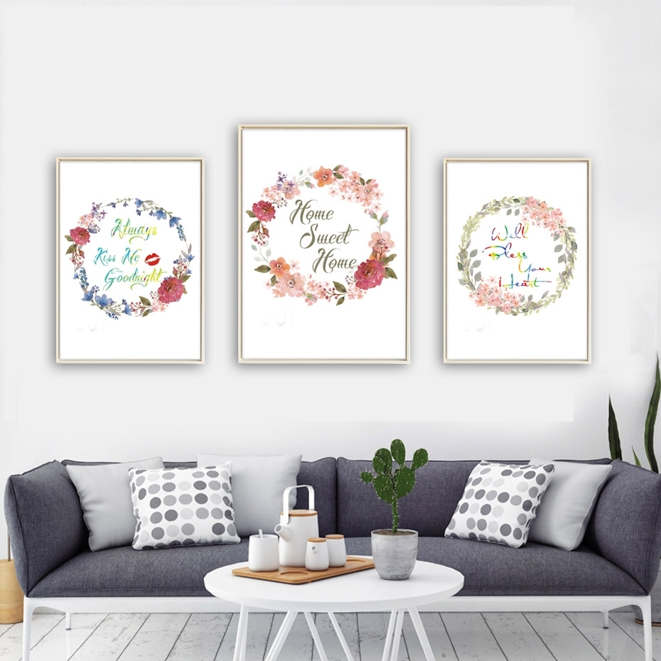 Beautiful Flowers Home Sweet Home Quote Canvas Art Print Poster Home In Most Current Living Room Wall Art (View 5 of 15)