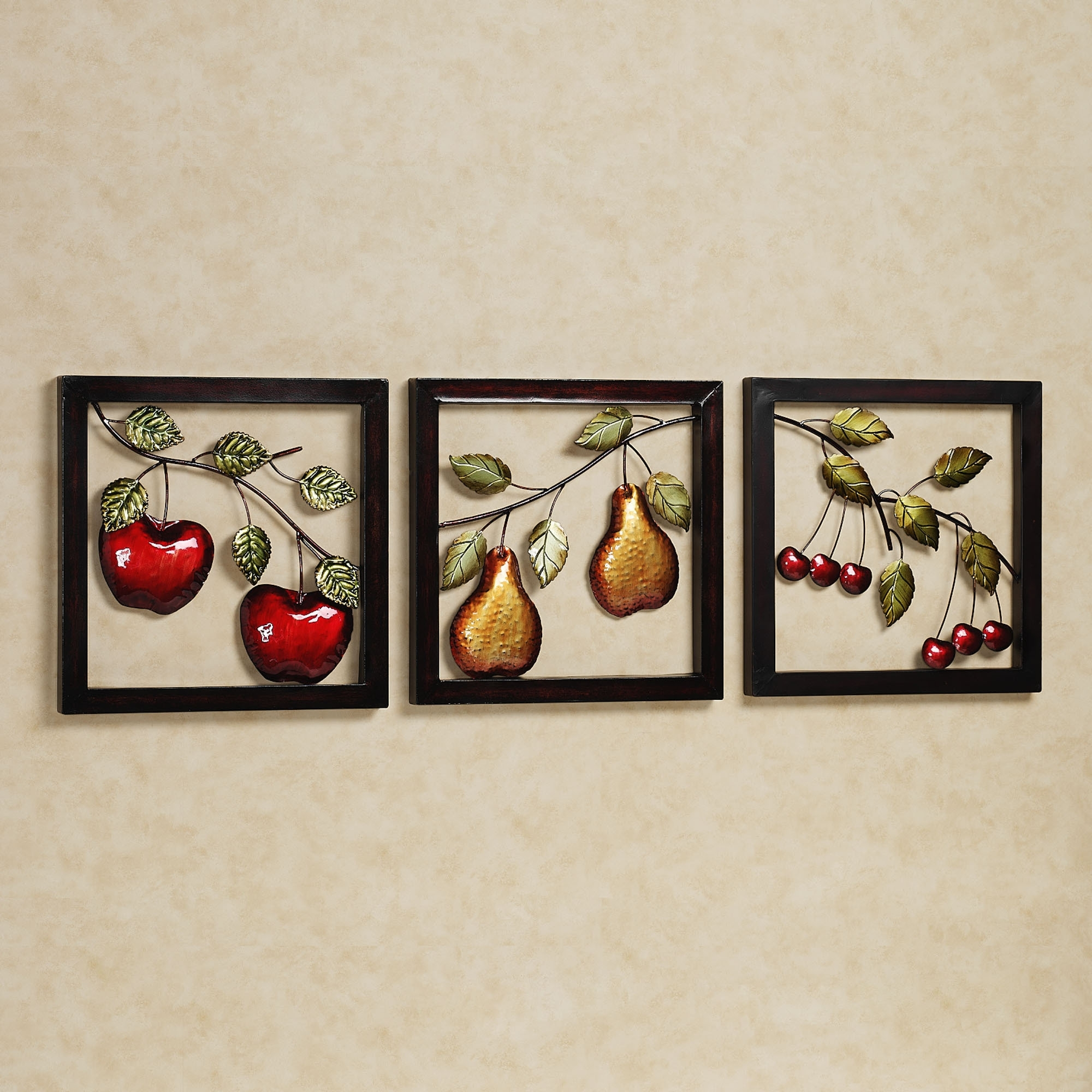 Beautiful Fruits Metal Wall Art Decor Kitchen With Black Frame Ideas Inside Current Wall Art For Kitchen (View 15 of 20)