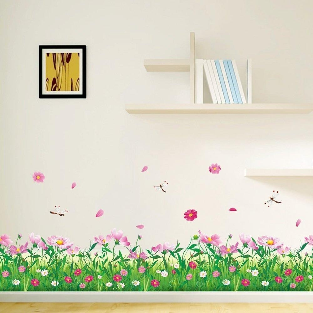 Beautiful Pink Flower Green Grass With Butterflies Wall Decals With Newest Stick On Wall Art (View 1 of 20)