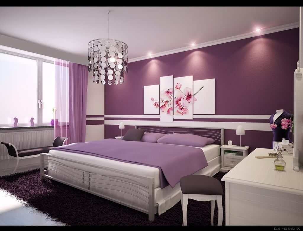 Bedroom Design: Stylish Purple Bedroom Design Ideas With Decorative For 2018 Purple And Grey Wall Art (View 2 of 20)
