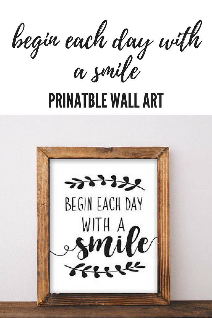Begin Each Day With A Smile Motivational Wall Art Quote #affiliate Throughout Newest Motivational Wall Art (View 6 of 20)