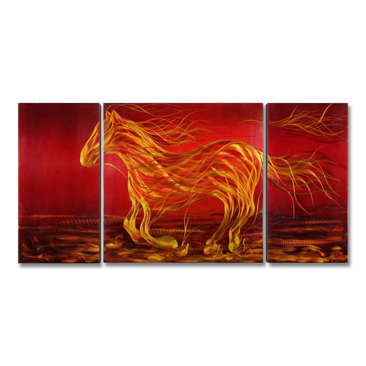Best And Cheap Red Tooarts Running Horse Modern Painting Wall Art Within Most Popular Orange Wall Art (Gallery 3 of 20)