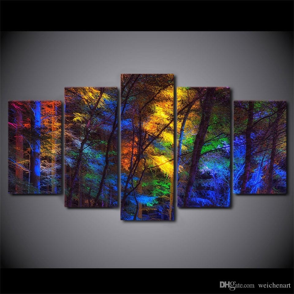 Best Framed Hd Printed Colorful Forest Tree Picture Wall Art Canvas Throughout Latest Modern Framed Wall Art Canvas (Gallery 7 of 20)