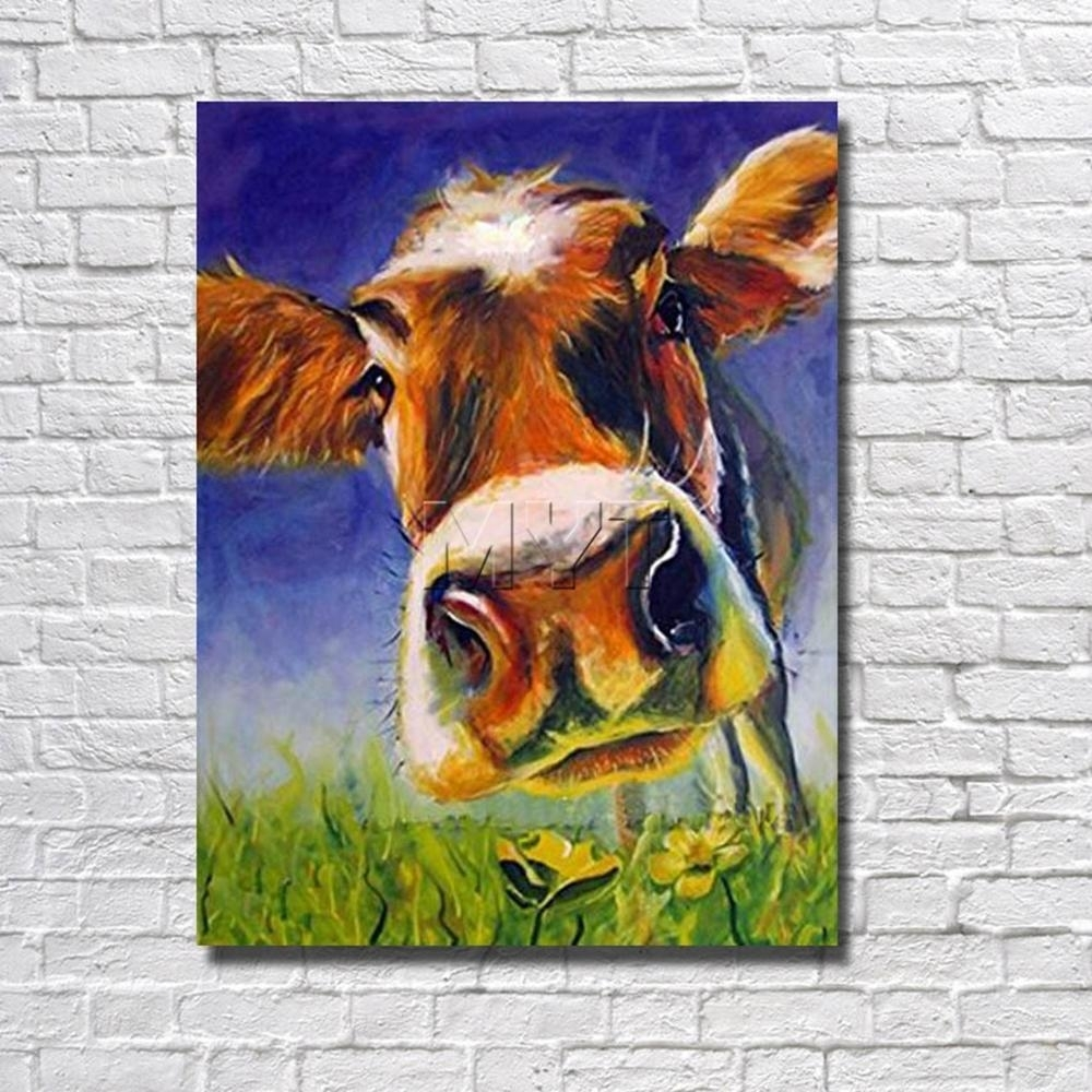 Best Handsome Cow Canvas Wall Art Oil Painting Decor Home Living In Best And Newest Cow Canvas Wall Art (Gallery 1 of 20)