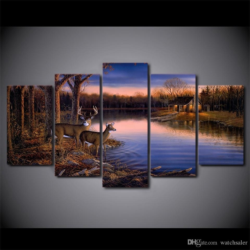 Best Hd Printed Canvas Art Deer Lake Landscape Sunset Painting Inside Most Up To Date Nature Wall Art (Gallery 14 of 20)