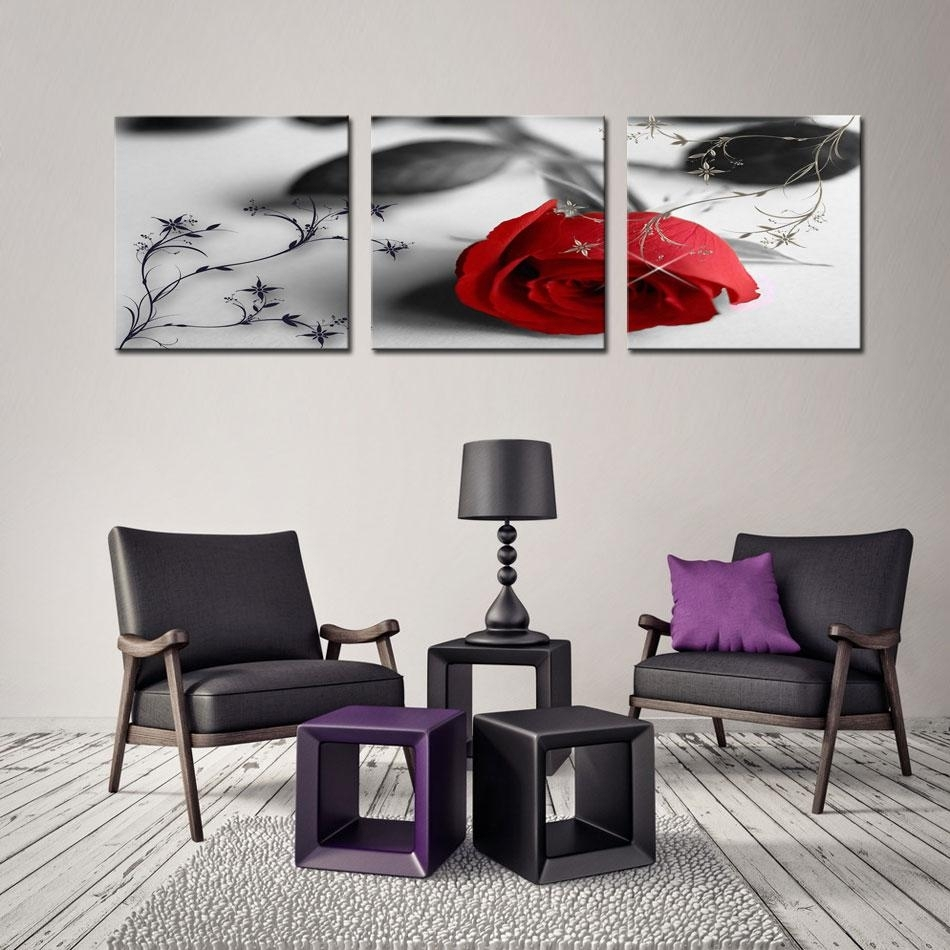 Best Quality Canvas Print Flower Wall Art Painting Of Love Red Rose Regarding Best And Newest Flower Wall Art (View 8 of 20)