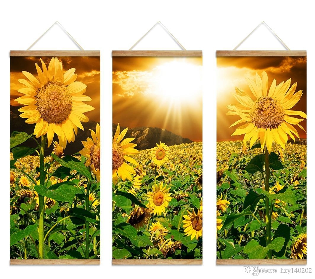Best Yijiahe Flowers Print Scroll Canvas Painting Sunflower Canvas For Recent Sunflower Wall Art (View 5 of 20)