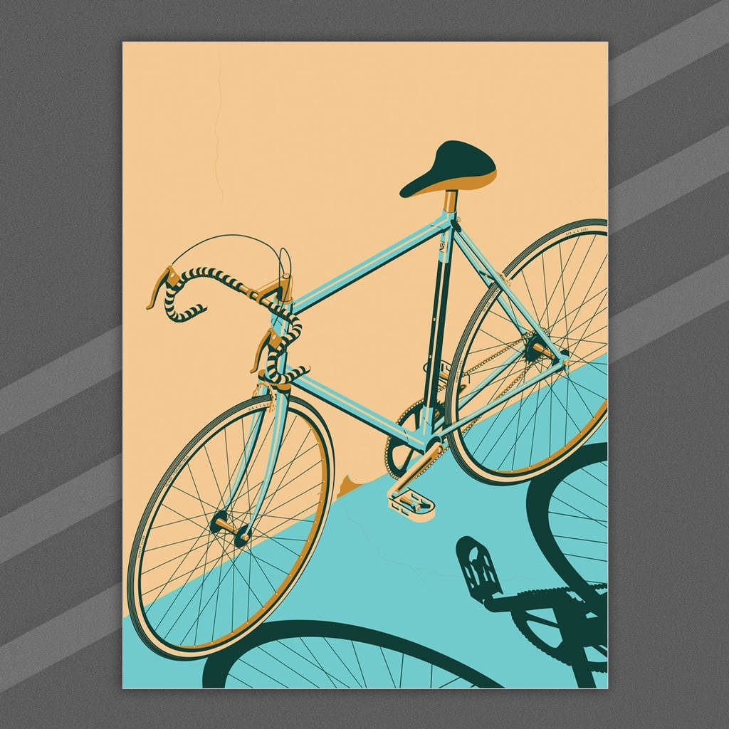 Bicycle, Bike, Bikes, Cycle Poster Wall Art Printwyatt9 With Recent Bicycle Wall Art (View 10 of 20)