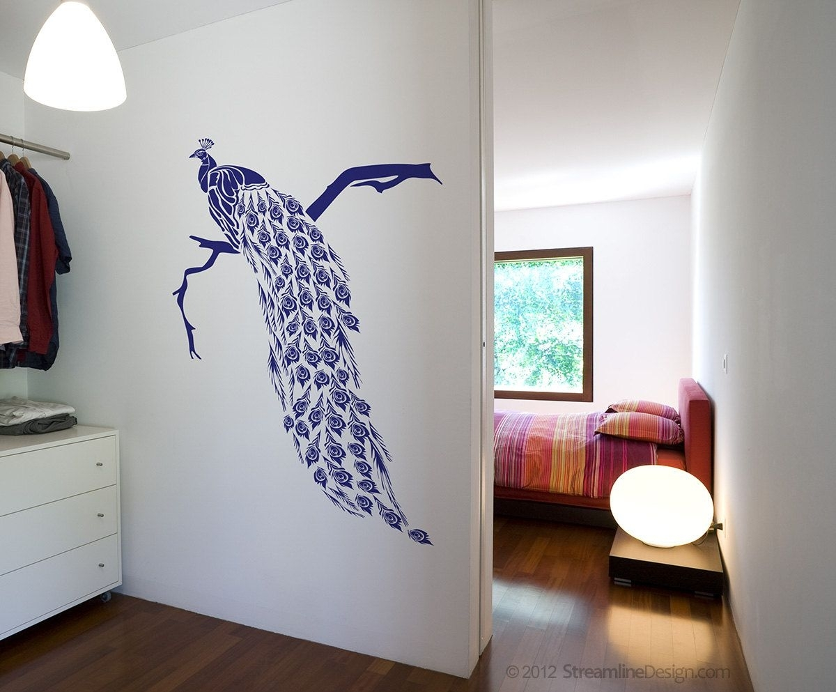 Big Beautiful Peacock Removable Vinyl Wall Art Decor, Japanese Within Most Current Peacock Wall Art (Gallery 9 of 15)