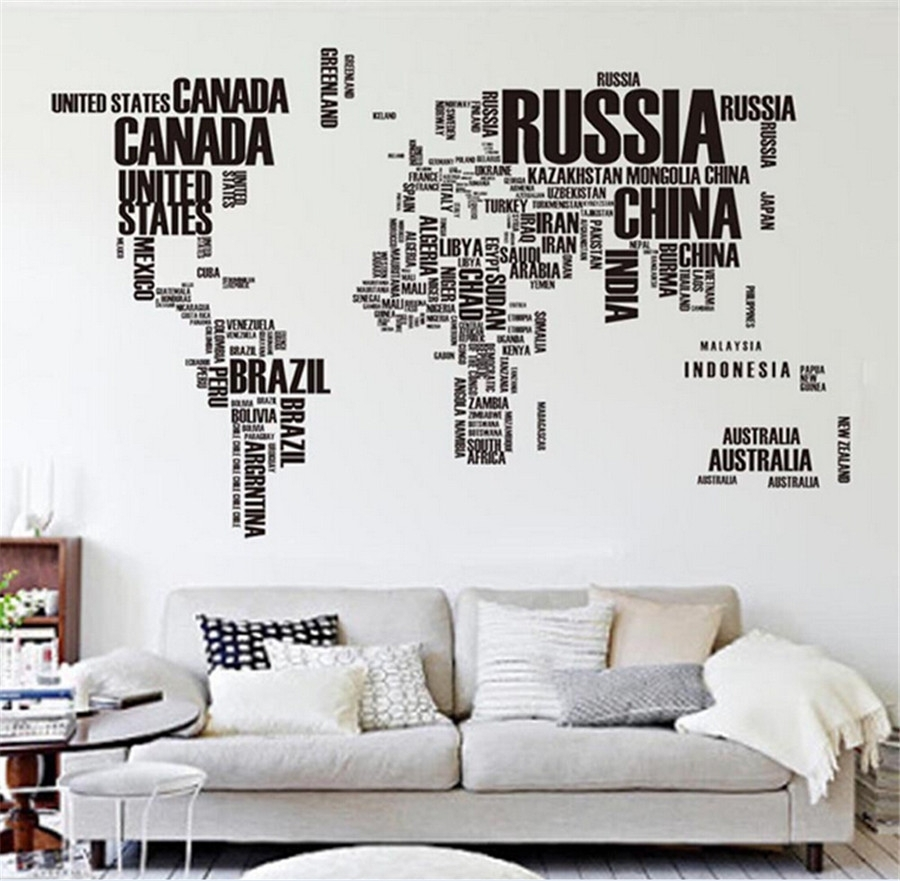 Big Global World Map Atlas Removable Vinyl Wall Art Decal Sticker Pertaining To Recent Vinyl Wall Art World Map (View 5 of 20)