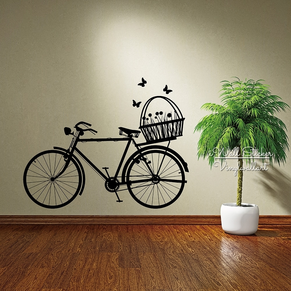 Bike Wall Sticker Modern Bike Flowers Wall Decal Diy Easy Wall Art For Recent Bicycle Wall Art (View 12 of 20)