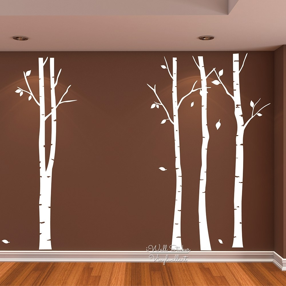 Birch Tree Wall Art Sticker Modern Large Tree Wall Decal Birch Tree In Recent Birch Tree Wall Art (View 16 of 20)