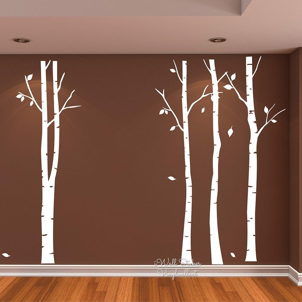 Birch Tree Wall Art Sticker Modern Large Tree Wall Decal Birch Tree In Recent Birch Tree Wall Art (View 6 of 20)