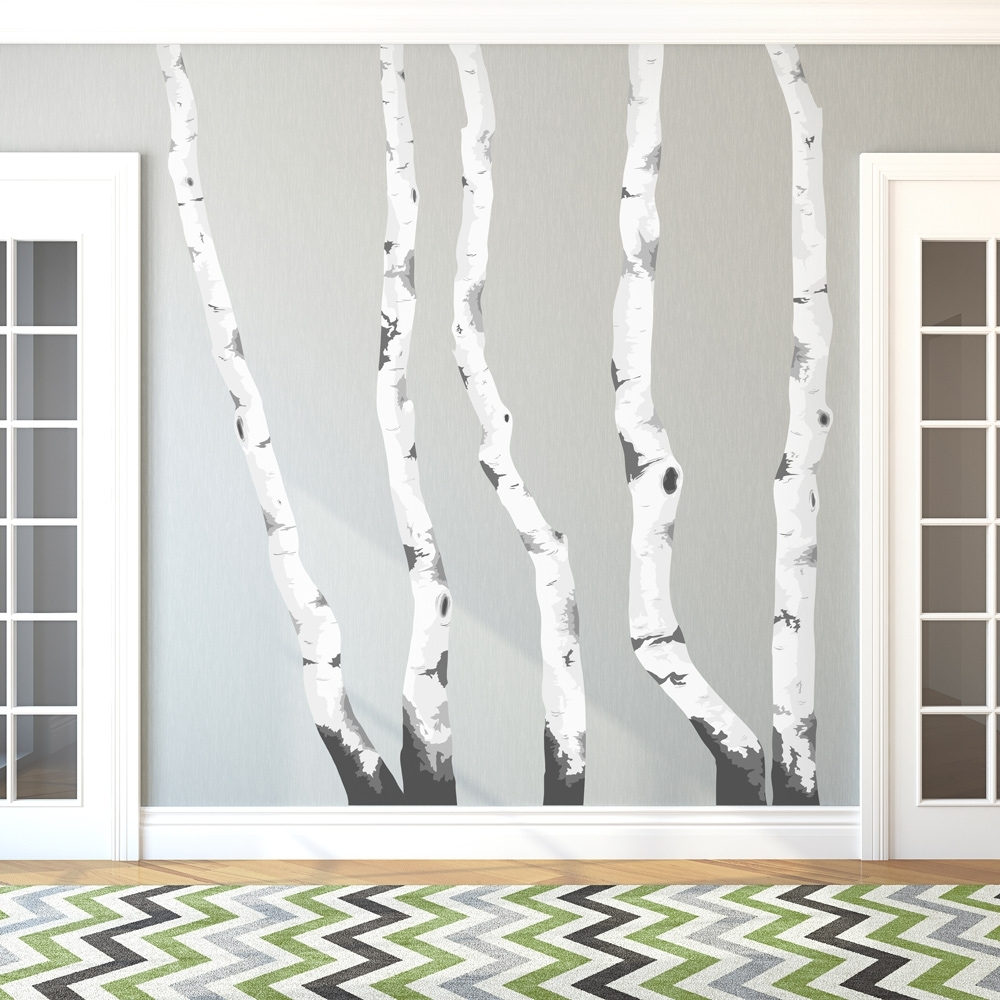 Birch Tree Winter Forest Vinyl Wall Decal – Gabc Pertaining To Best And Newest Birch Tree Wall Art (View 13 of 20)