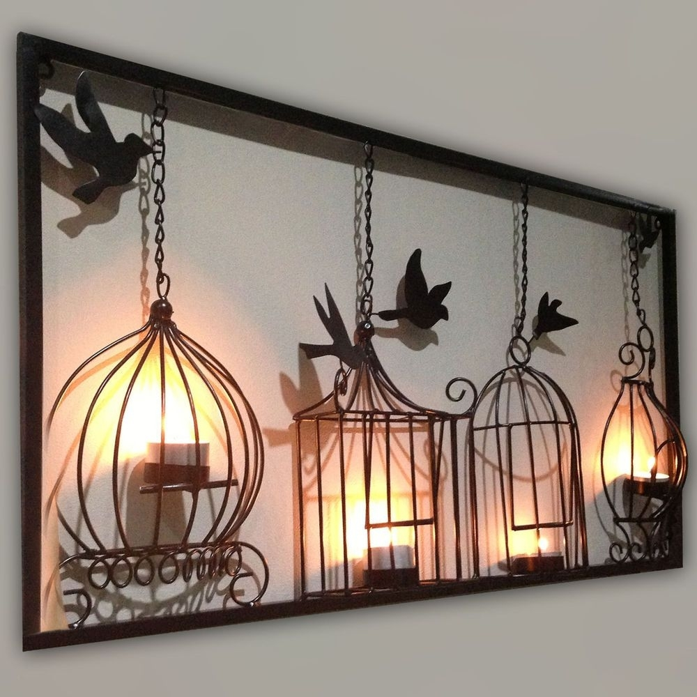 Birdcage Tea Light Wall Art Metal Wall Hanging Candle Holder Black Throughout Current Iron Wall Art (View 11 of 20)