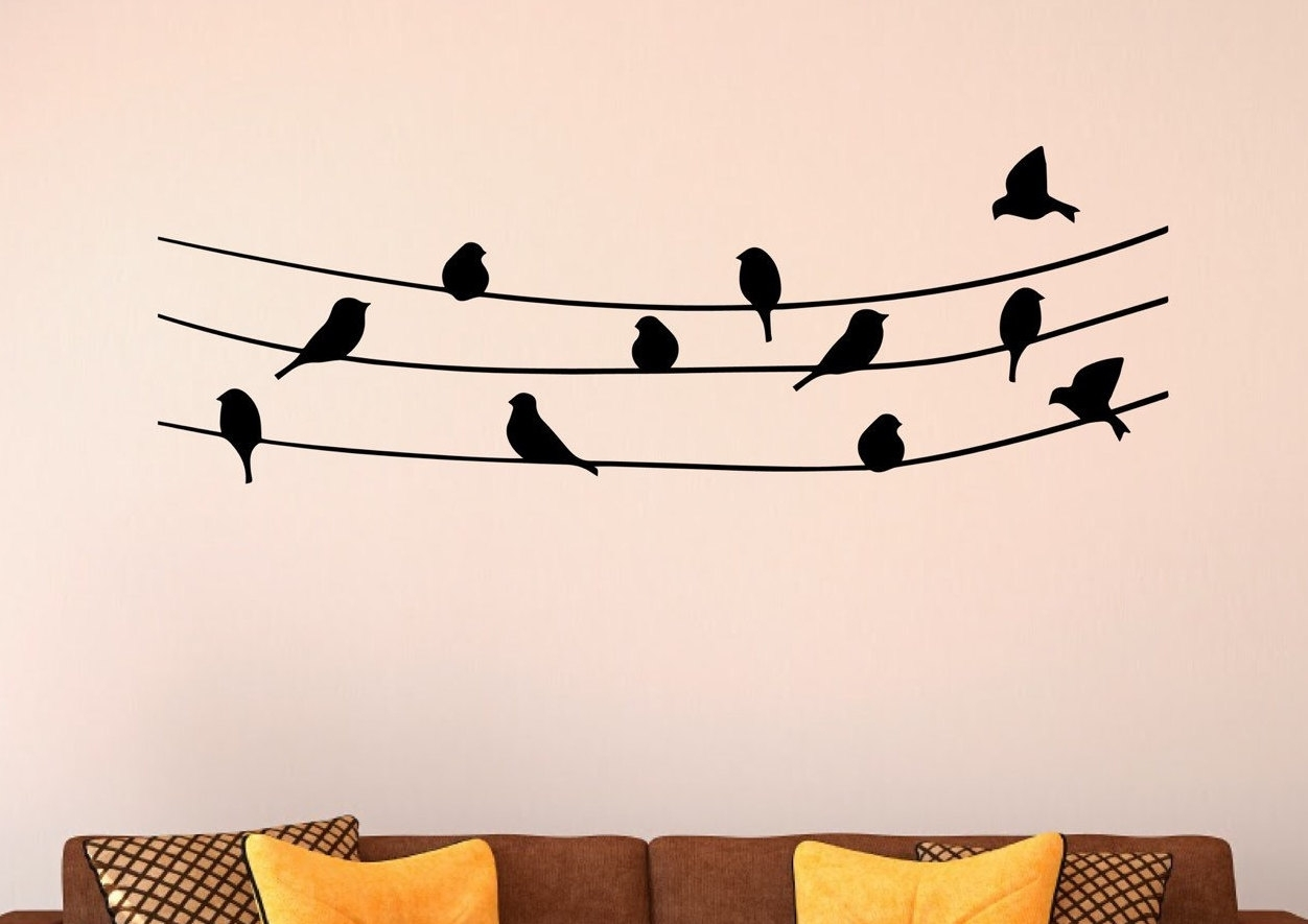 Birds On A Wire Wall Sticker | Stunning Bird Wall Stickers | Wall Art With Regard To Most Popular Bird Wall Art (Gallery 5 of 15)