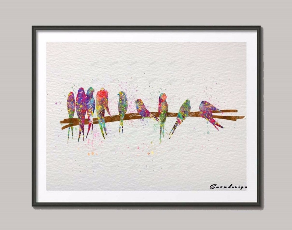 Birds On Wire Original Watercolor Canvas Painting Wall Art Poster Inside Most Up To Date Birds On A Wire Wall Art (View 11 of 20)