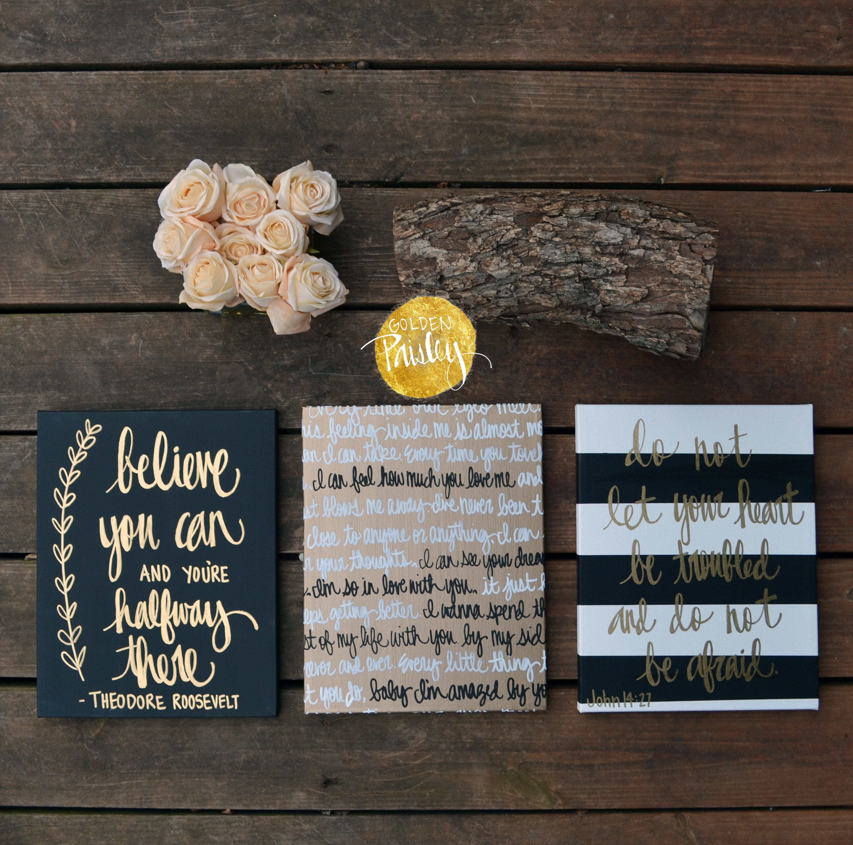 "Black And Gold Inspirational Quote Wall Art ""believe You Can"" Regarding Newest Black And Gold Wall Art (View 10 of 20)"