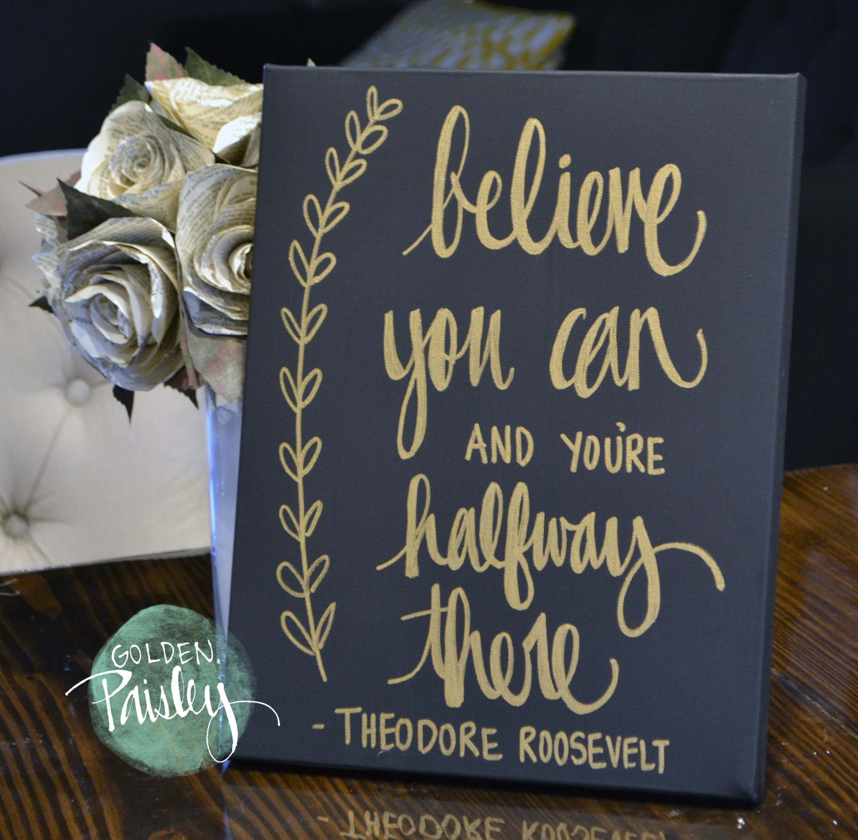 "Black And Gold Inspirational Quote Wall Art ""Believe You Can"" With Most Popular Inspirational Wall Art (View 2 of 15)"