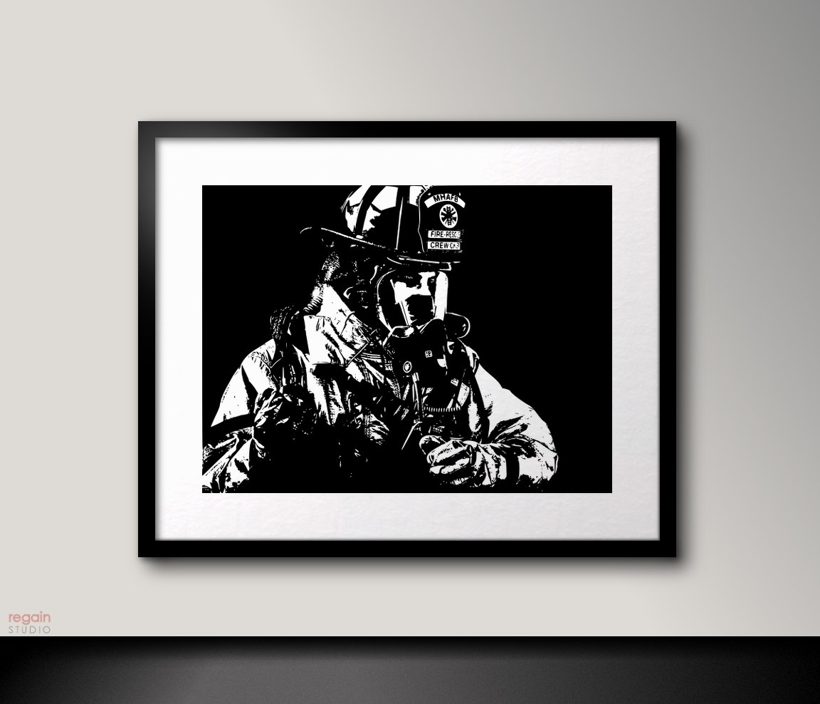 Black And White Art Firefighter Wall Artfireman Decor Black With 2017 Firefighter Wall Art (View 5 of 15)