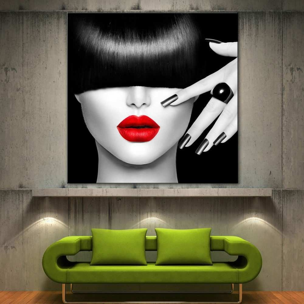 Black And White Canvas Art Elegant Red Lips Face Modern Canvas Home In Best And Newest Red And Black Canvas Wall Art (View 8 of 20)