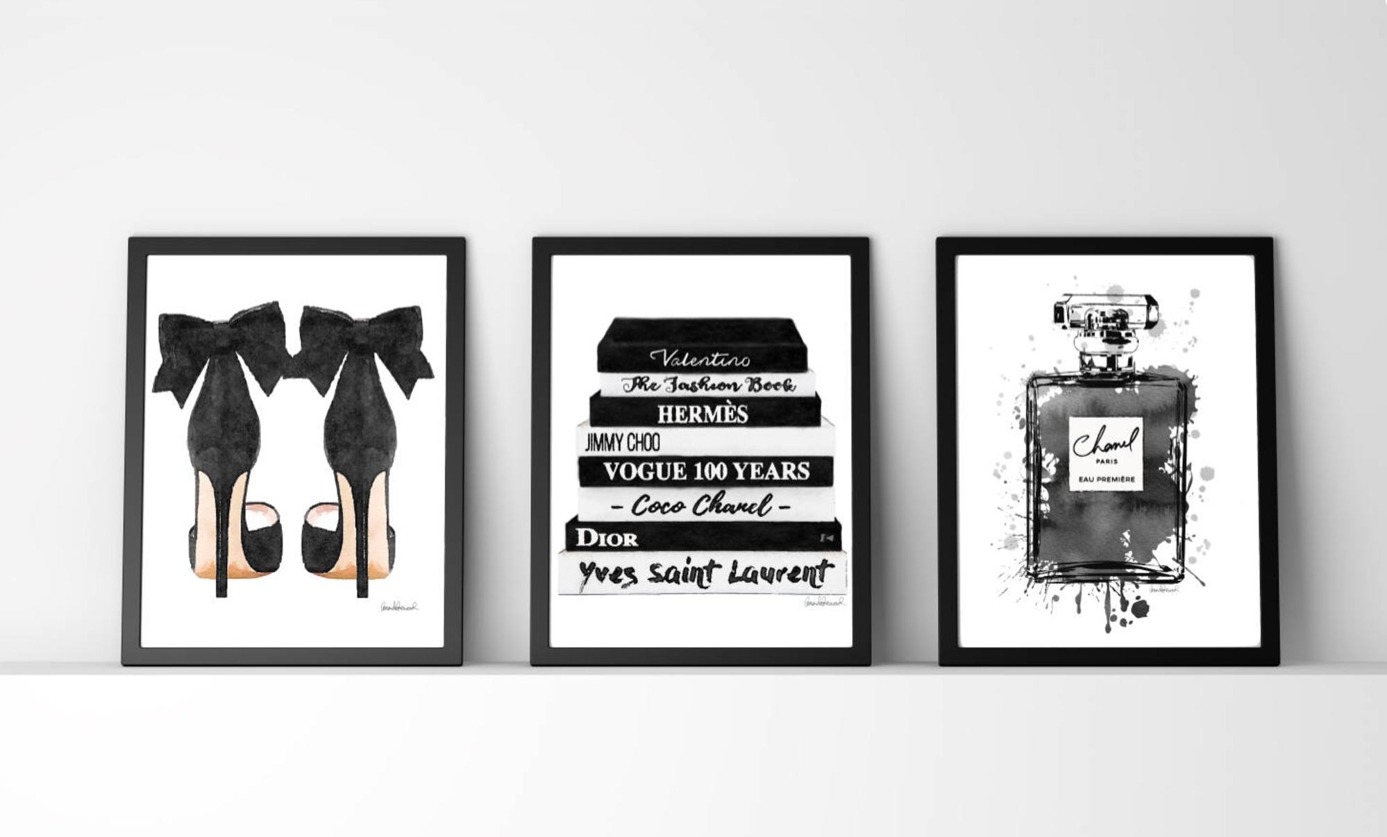 Black And White, Fashion Wall Art, Fashion Watercoloramanda In Most Current Fashion Wall Art (View 4 of 20)