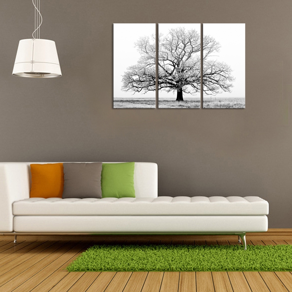 Black And White Tree Picture Painting Canvas Wall Art Wall Decor Regarding 2017 Art Wall Decor (View 3 of 20)