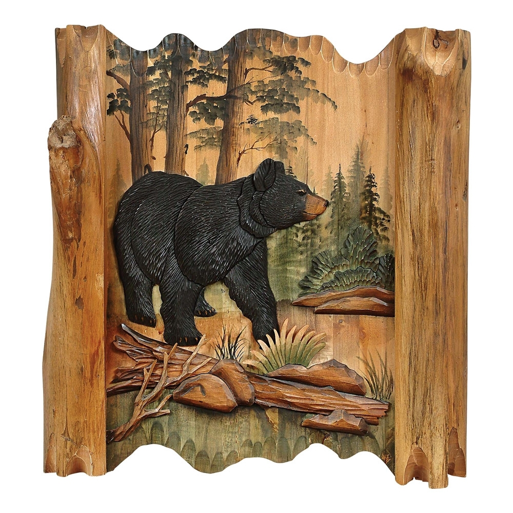 Black Bear Forest Carved Wood Lodge Wall Art – Lodge Decor – Walmart Within Latest Carved Wood Wall Art (View 9 of 15)