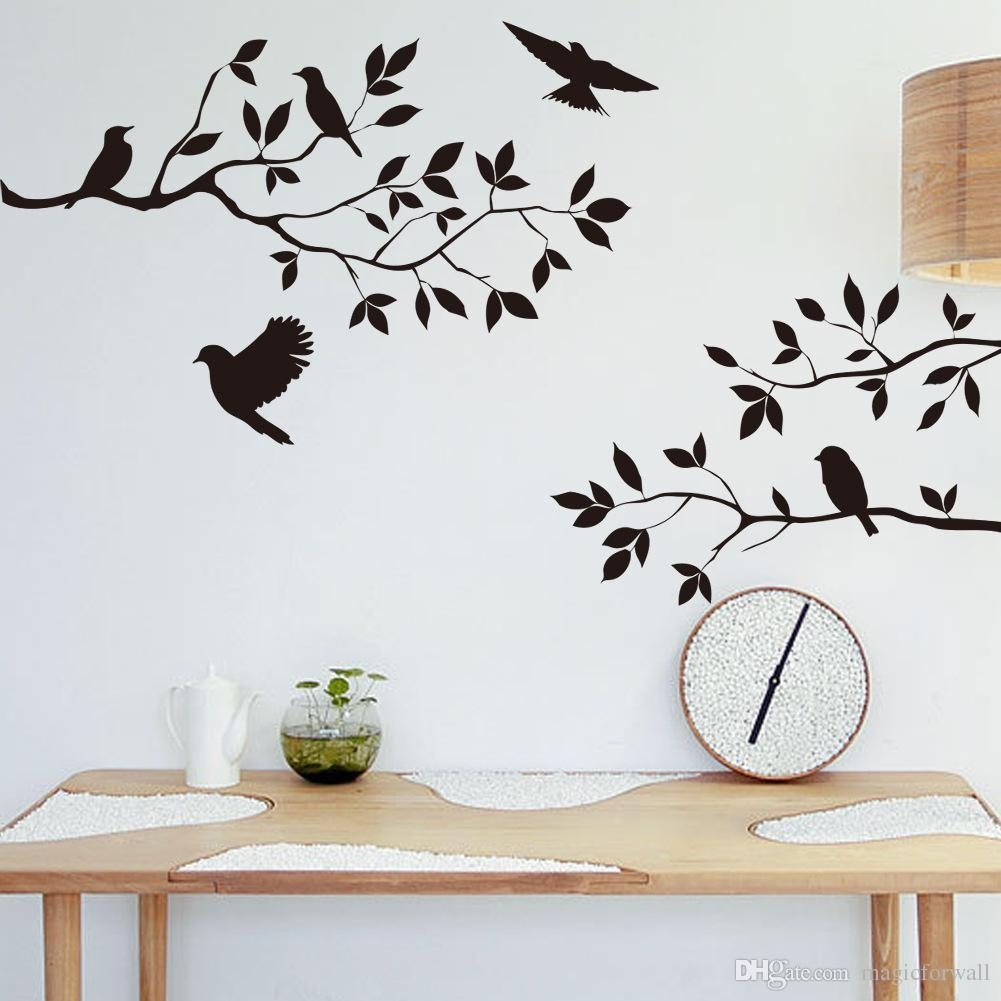 Black Bird And Tree Branch Leaves Wall Sticker Decal Removable Birds Inside Recent Wall Tree Art (View 5 of 20)