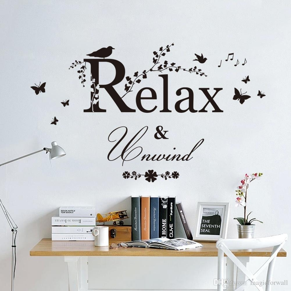 Black Butterfly Tree Branches With Leaves Birds Wall Stickers Relax Intended For Most Up To Date Relax Wall Art (Gallery 10 of 20)