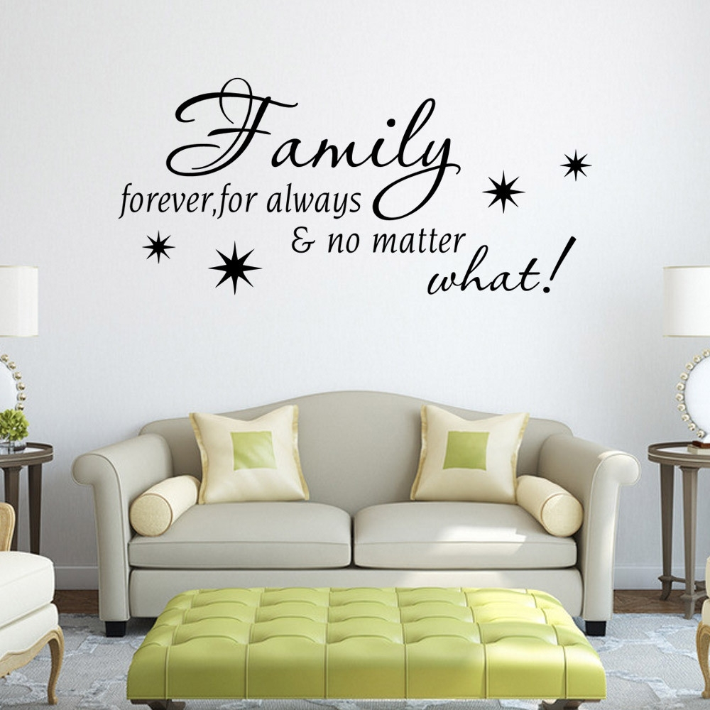 Black Family Letter Quote Wall Stikers Office Living Room Decoration In Latest Stick On Wall Art (View 2 of 20)