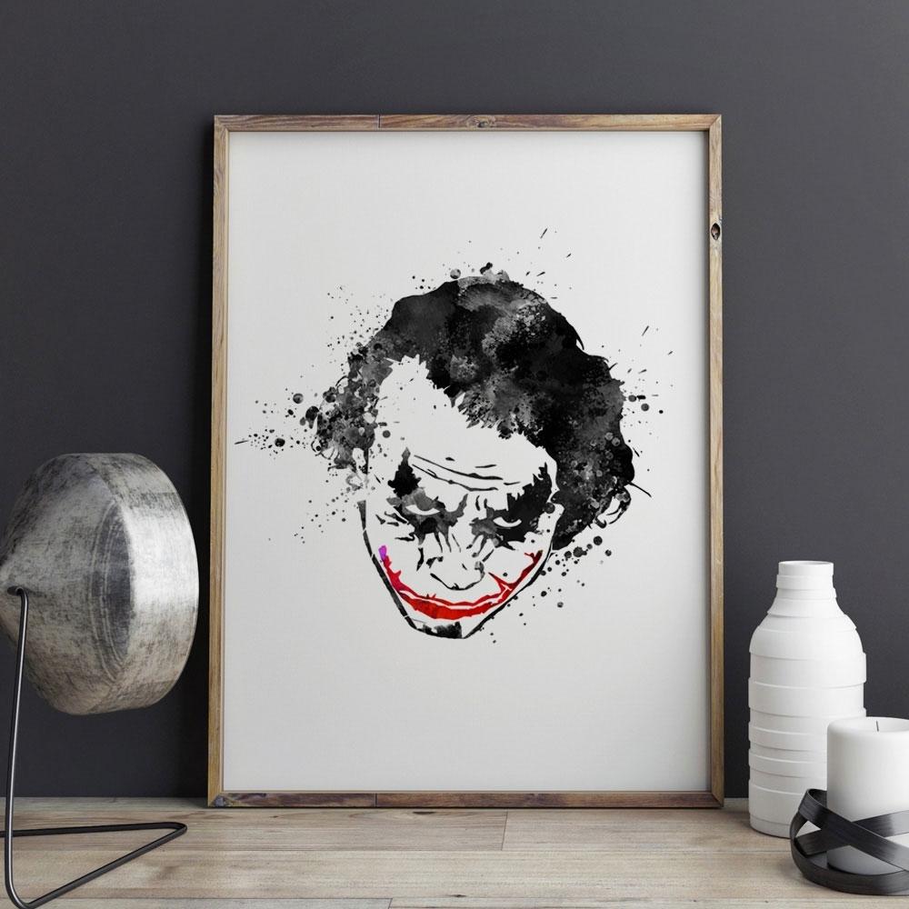 Black Joker Watercolor Nursery Why So Serious The Dark Knight Black In Best And Newest Joker Wall Art (View 6 of 20)