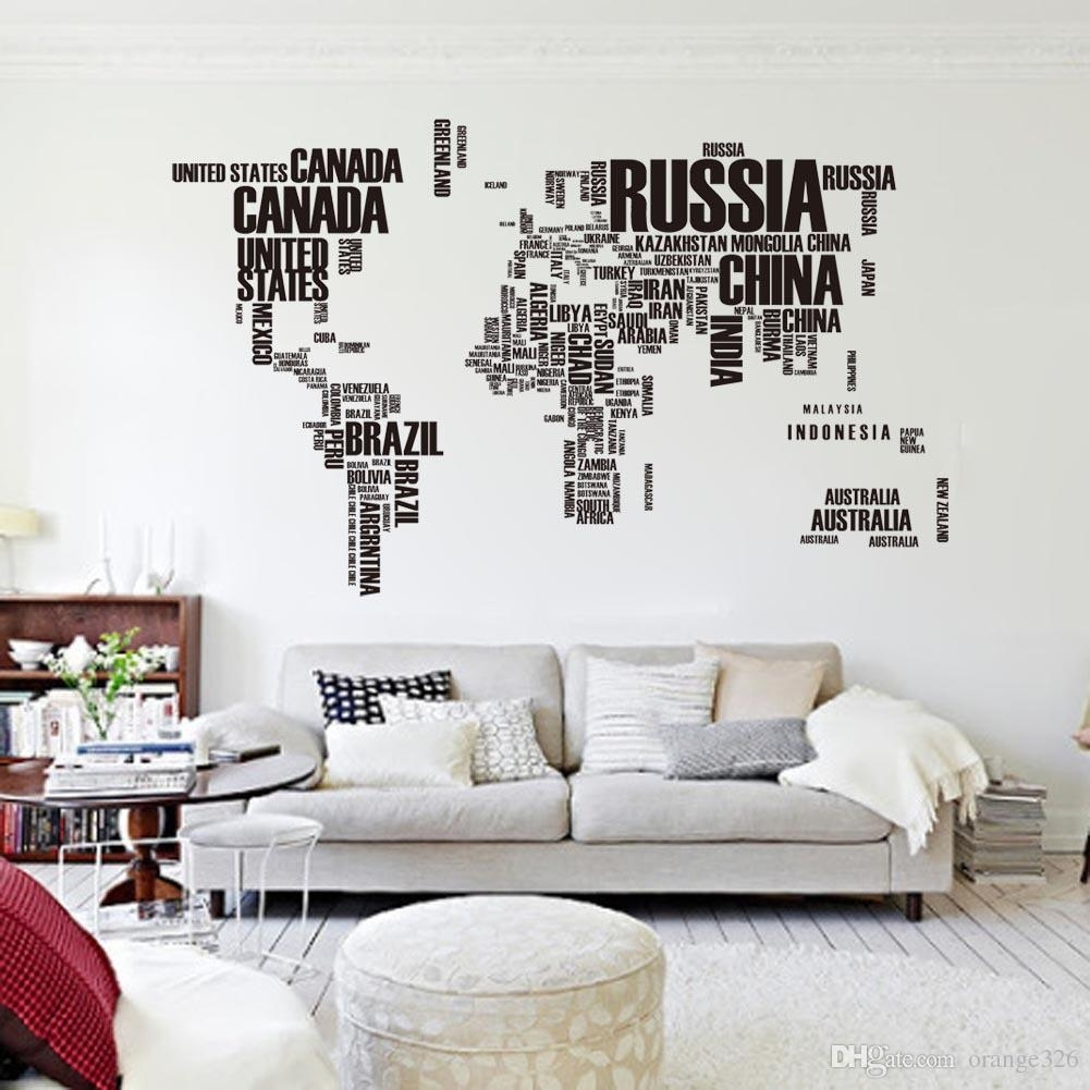 Black Letters World Map Wall Stikers Office Living Room Decoration Inside Newest Stick On Wall Art (View 3 of 20)